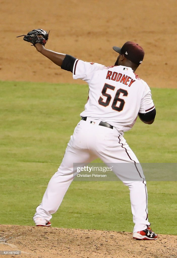 Relief pitcher Fernando Rodney #56 of the Arizona Diamondbacks celebrates after defeating the Houston Astros in the MLB game at Chase Field on August 14, 2017 in Phoenix, Arizona. The Diamondbacks defeated the Astros 2-0.