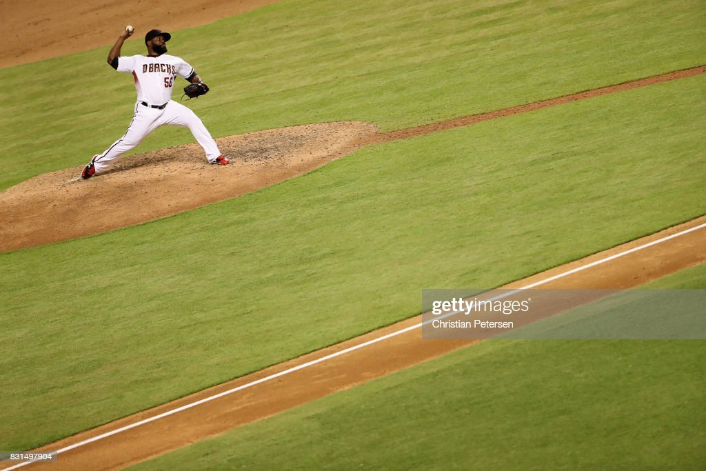 Relief pitcher Fernando Rodney #56 of the Arizona Diamondbacks pitches against the Houston Astros during the ninth inning of the MLB game at Chase Field on August 14, 2017 in Phoenix, Arizona. The Diamondbacks defeated the Astros 2-0.