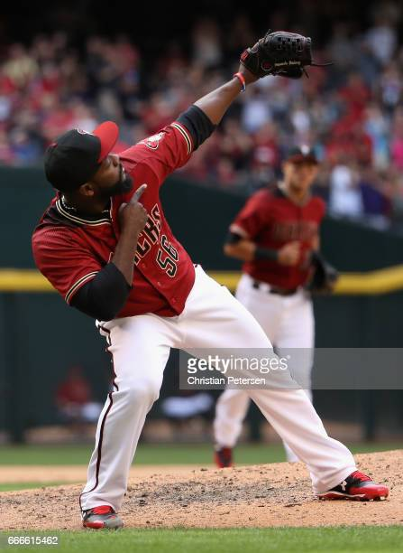 Relief pitcher Fernando Rodney of the Arizona Diamondbacks reacts after defeating the Cleveland Indians 32 in the MLB game at Chase Field on April 9...