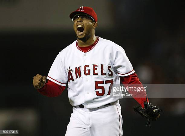 Relief pitcher Francisco Rodriguez of the Anaheim Angels celebrates after striking out Mark Bellhorn of the Boston Red Sox to end the eighth inning...
