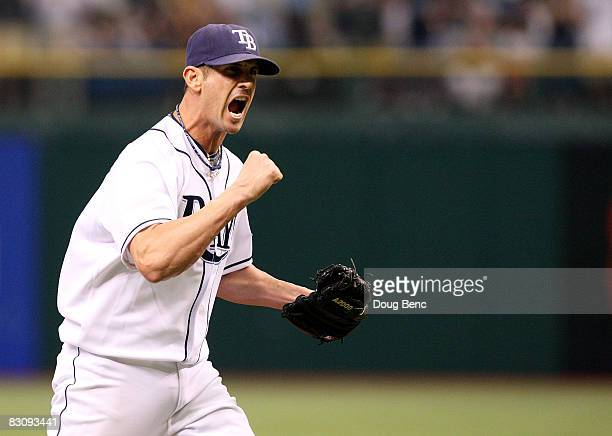Relief pitcher Grant Balfour of the Tampa Bay Rays celebrates after striking out Orlando Cabrera of the Chicago White Sox in Game 1 of the American...
