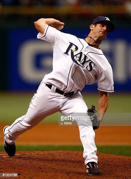 Relief pitcher Grant Balfour of the Tampa Bay Rays pitches against the Chicago White Sox during the game on June 1 2008 at Tropicana Field in St...