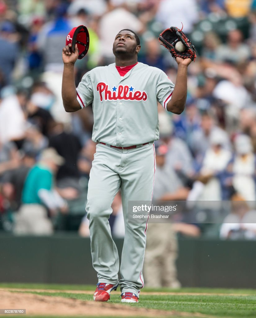 Relief pitcher Hector Neris #50 of the Philadelphia Phillies celebrates after an interleague game against the Seattle Mariners in which Neris got the win at Safeco Field on June 28, 2017 in Seattle, Washington. The Phillies won 5-4.