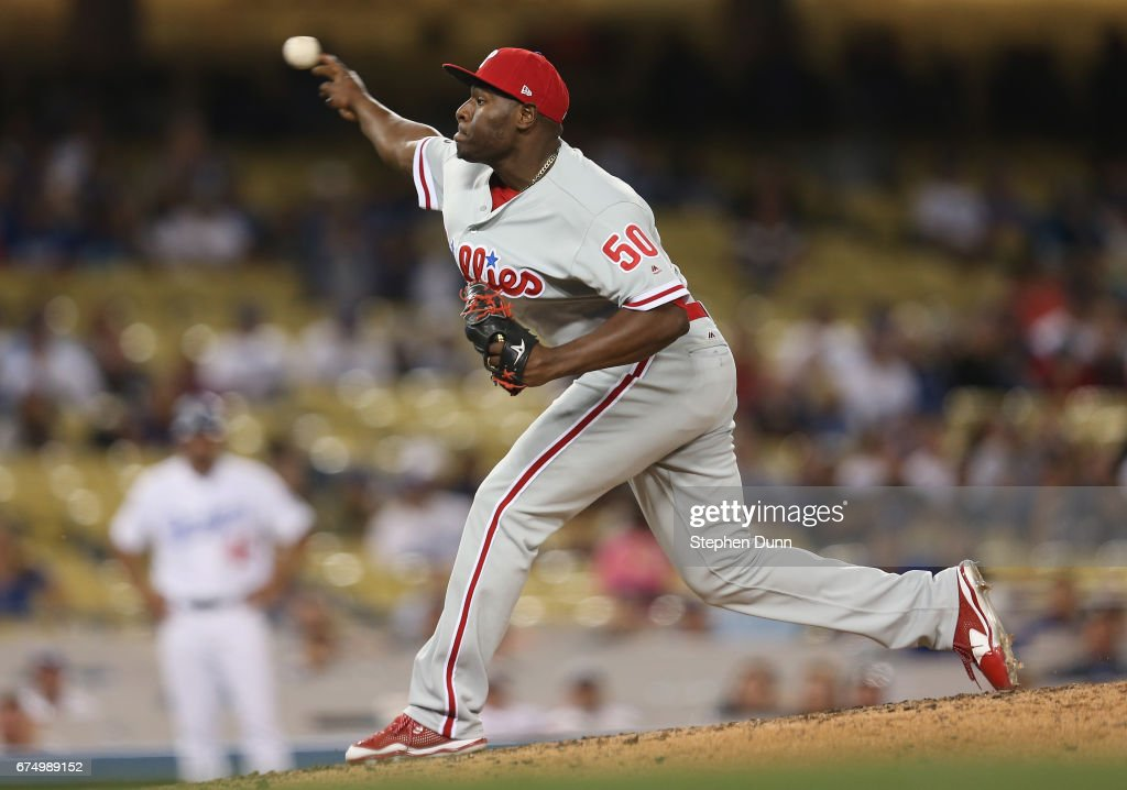 Relief pitcher Hector Neris #50 of the Philadelphia Phillies throws a pitch in the ninth inning against the Los Angeles Dodgers at Dodger Stadium on April 29, 2017 in Los Angeles, California. The Dodgers won 6-5.