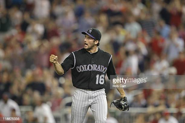 Relief pitcher Huston Street of the Colorado Rockies celebrates after the Rockies defeated the Washington Nationals 21 at Nationals Park on July 9...