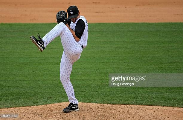 Relief pitcher Huston Street of the Colorado Rockies delivers in the ninth inning against the San Francisco Giants at Coors Field on July 26 2009 in...