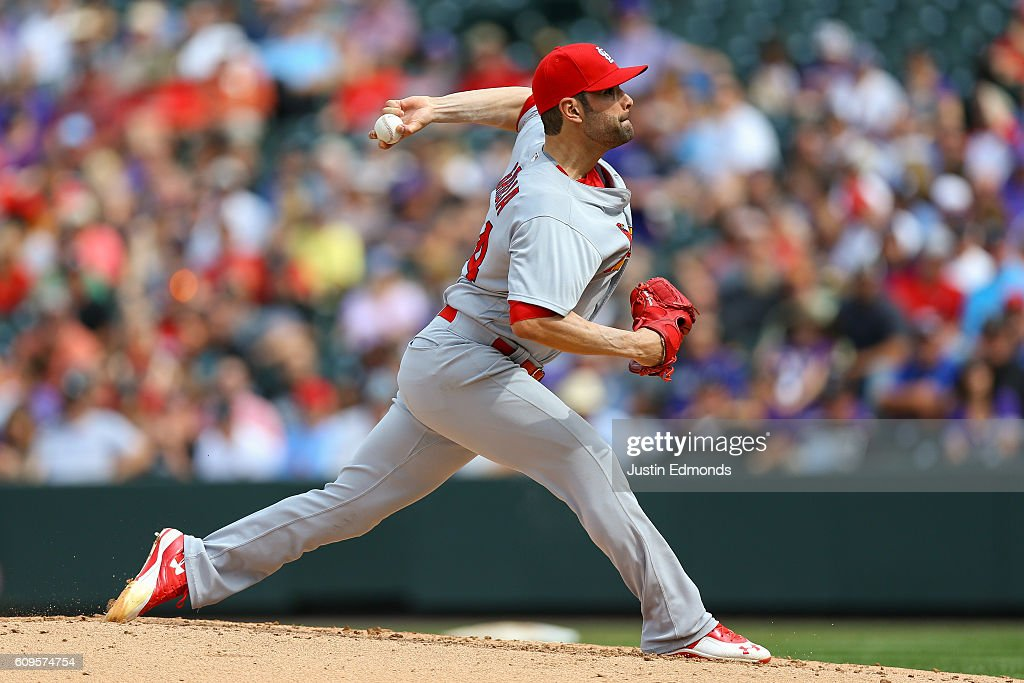 Relief pitcher Jaime Garcia #54 of the St. Louis Cardinals delivers to home plate during the third inning against the Colorado Rockies at Coors Field on September 21, 2016 in Denver, Colorado.