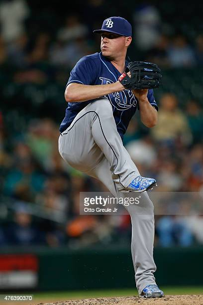 Relief pitcher Jake McGee of the Tampa Bay Rays pitches against the Seattle Mariners at Safeco Field on June 4 2015 in Seattle Washington