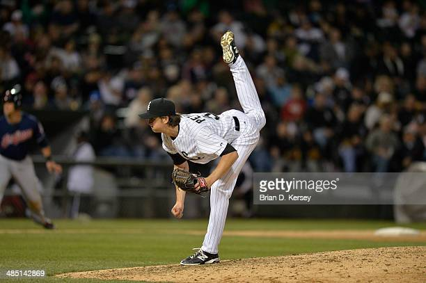 Relief pitcher Jake Petricka of the Chicago White Sox delivers during the sixth inning against the Cleveland Indians at US Cellular Field on April 11...