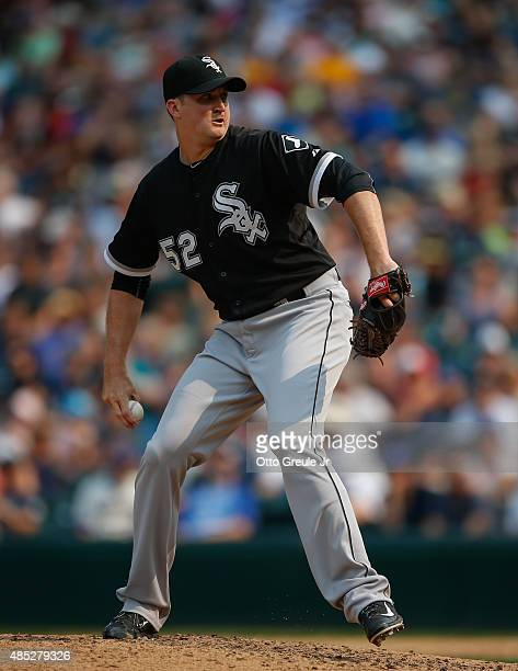 Relief pitcher Jake Petricka of the Chicago White Sox pitches against the Seattle Mariners at Safeco Field on August 23 2015 in Seattle Washington