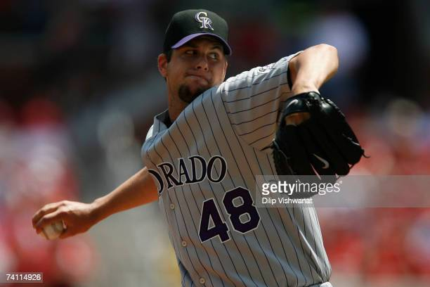 Relief pitcher Jason Hirsch of the Colorado Rockies throws against the St Louis Cardinals May 9 2007 at Busch Stadium in St Louis Missouri The...