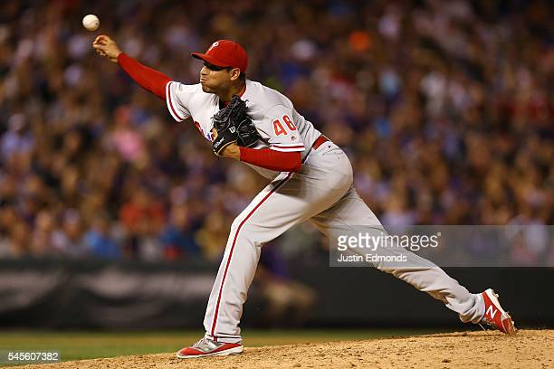 Relief pitcher Jeanmar Gomez of the Philadelphia Phillies delivers to home plate during the ninth inning against the Colorado Rockies at Coors Field...