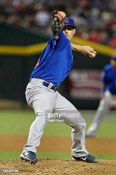 Relief pitcher Jeff Beliveau of the Chicago Cubs delivers a pitch against the Arizona Diamondbacks during a MLB game at Chase Field on September 29...