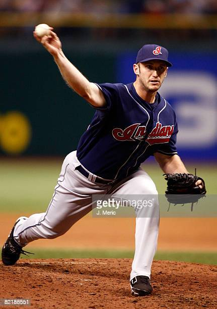Relief pitcher Jensen Lewis of the Cleveland Indians pitches against the Tampa Bay Rays during the game on August 5 2008 at Tropicana Field in St...