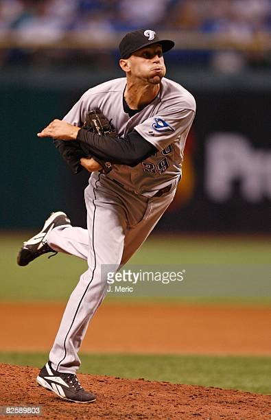 Relief pitcher Jesse Carlson of the Toronto Blue Jays pitches against the Tampa Bay Rays during the game on August 26 2008 at Tropicana Field in St...