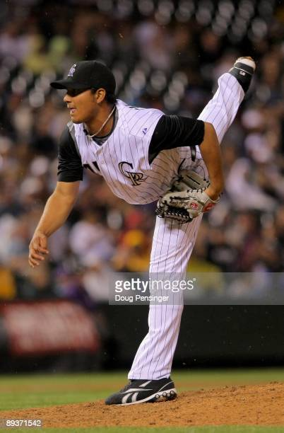 Relief pitcher Jhoulys Chacin of the Colorado Rockies makes his Major League Baseball debut against the San Francisco Giants at Coors Field on July...