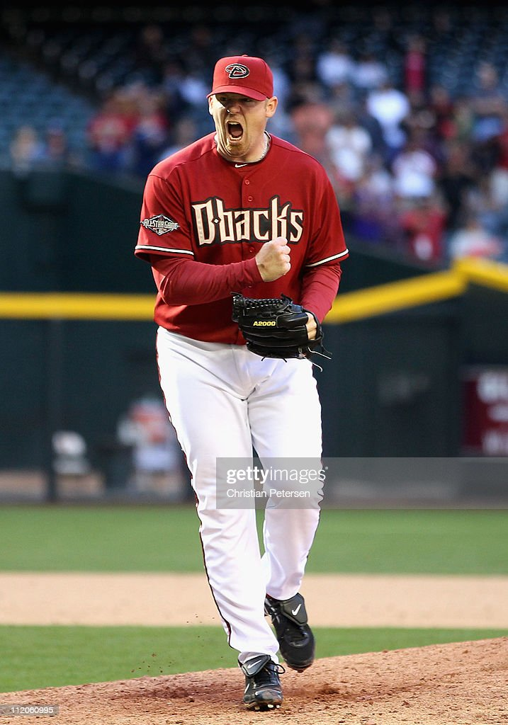 Relief pitcher J.J. Putz #40 of the Arizona Diamondbacks celebrates after defeating the Cincinnati Reds in the Major League Baseball game at Chase Field on April 10, 2011 in Phoenix, Arizona. The Diamondbacks defeated the Reds 10-8.