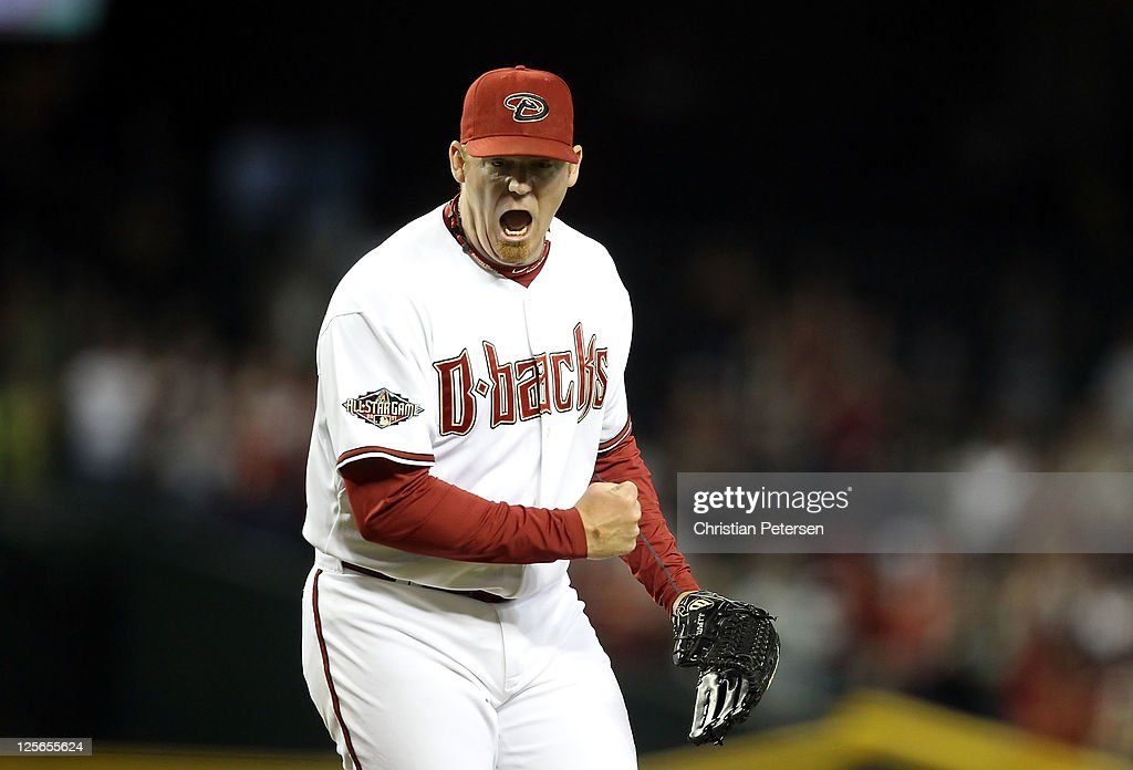 Relief pitcher J.J. Putz #40 of the Arizona Diamondbacks celebrates after defeating the Pittsburgh Pirates in the Major League Baseball game at Chase Field on September 19, 2011 in Phoenix, Arizona. The Diamondbacks defeated the Pirates 1-0.
