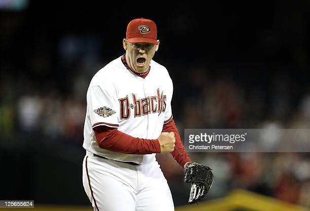 Relief pitcher JJ Putz of the Arizona Diamondbacks celebrates after defeating the Pittsburgh Pirates in the Major League Baseball game at Chase Field...
