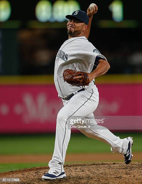 Relief pitcher Joaquin Benoit of the Seattle Mariners pitches during their home opener against the Oakland Athletics at Safeco Field on April 8 2016...
