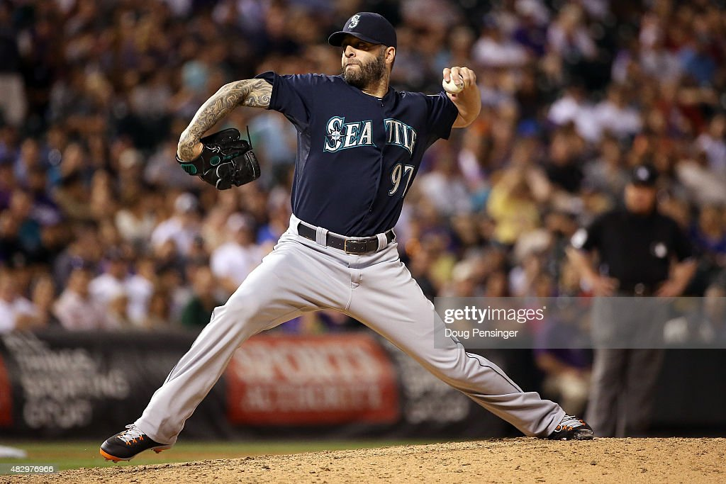 Relief pitcher Joe Beimel #97 of the Seattle Mariners delivers against the Colorado Rockies during interleague play at Coors Field on August 4, 2015 in Denver, Colorado. The Mariners defeated the Rockies 10-4.