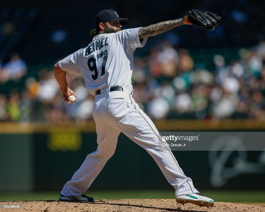 Relief pitcher Joe Beimel #97 of the Seattle Mariners pitches in the sixth inning against the Texas Rangers at Safeco Field on August 27, 2014 in Seattle, Washington. The Rangers defeated the Mariners 12-4.