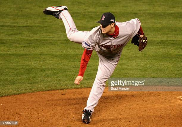 Relief pitcher Jonathan Papelbon#58 of the Boston Red Sox pitches against the Colorado Rockies in Game Three of the 2007 World Series at Coors Field...
