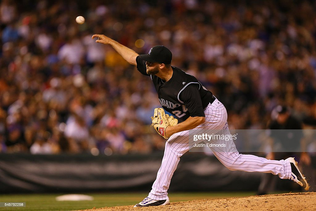 Relief pitcher Jordan Lyles #24 of the Colorado Rockies delivers to home plate during the ninth inning against the Philadelphia Phillies at Coors Field on July 9, 2016 in Denver, Colorado. The Rockies defeated the Phillies 8-3.