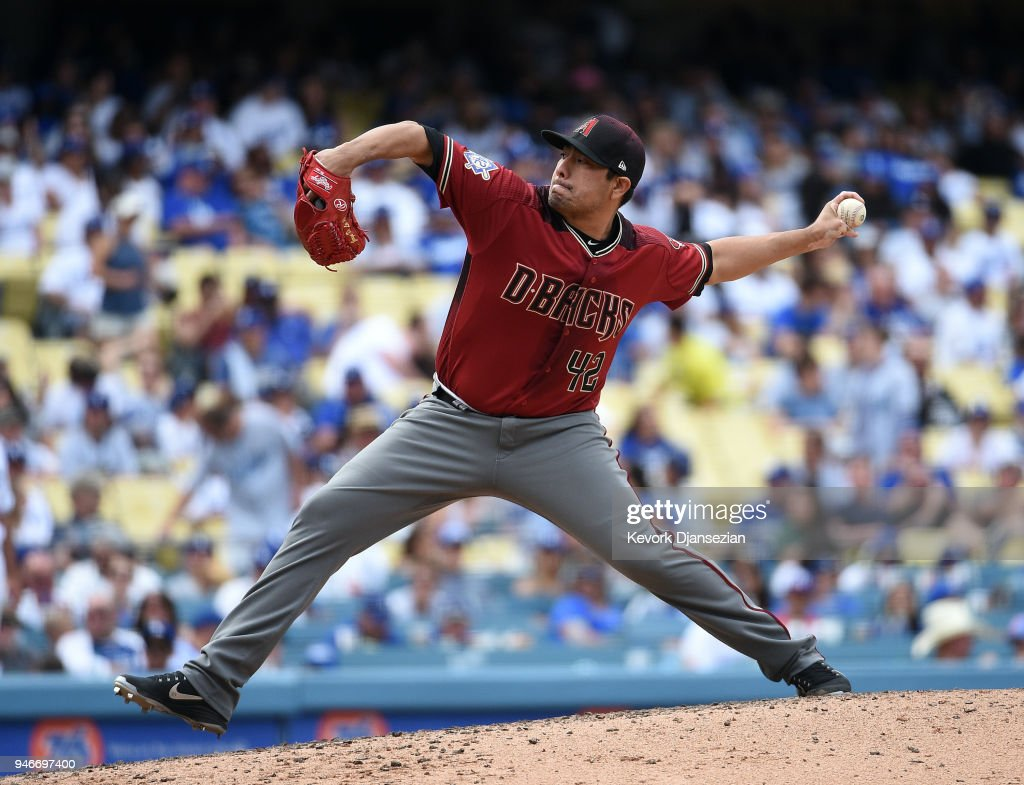 Relief pitcher Jorge De La Rosa #29 of the Arizona Diamondbacks throws against Los Angeles Dodgers during the eighth inning at Dodger Stadium on April 15, 2018 in Los Angeles, California. All players are wearing #42 in honor of Jackie Robinson Day.