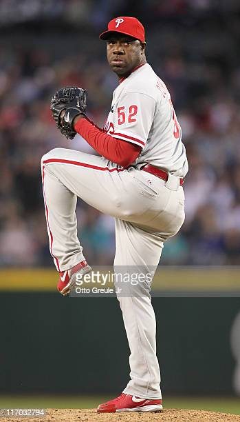 Relief pitcher Jose Contreras of the Philadelphia Phillies pitches against the Seattle Mariners at Safeco Field on June 17 2011 in Seattle Washington