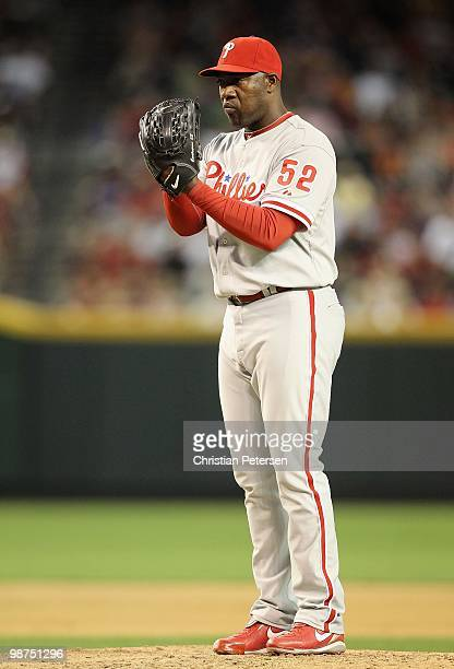 Relief pitcher Jose Contreras of the Philadelphia Phillies pitches against the Arizona Diamondbacks in the Major League Baseball game at Chase Field...