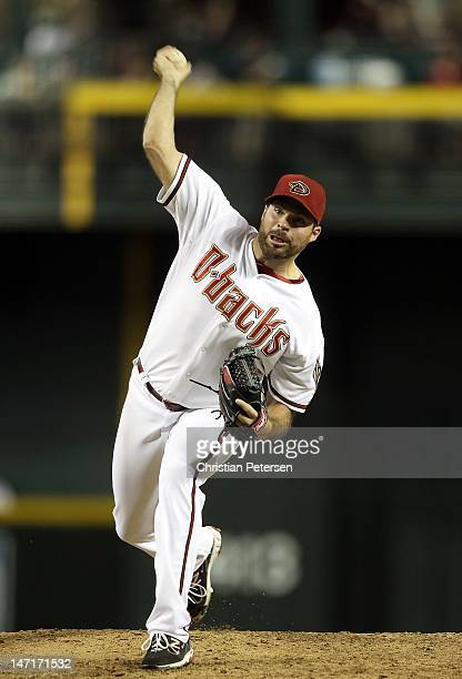 Relief pitcher Josh Collmenter of the Arizona Diamondbacks pitches against the Oakland Athletics during the interleague MLB game at Chase Field on...
