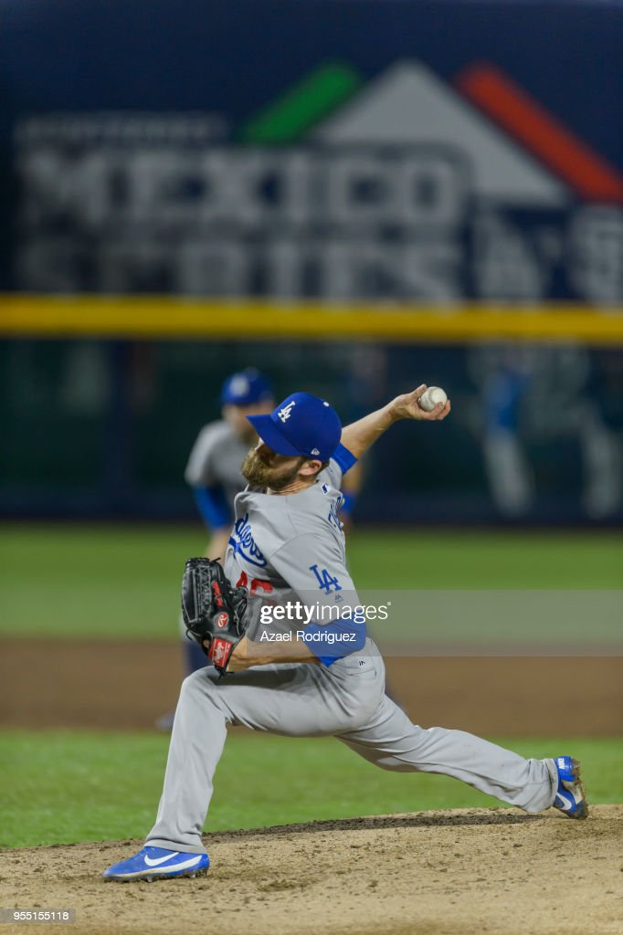 Relief pitcher Josh Fields #46 of Los Angeles Dodgers pitches on the sixth inning during the MLB game against the San Diego Padres at Estadio de Beisbol Monterrey on May 5, 2018 in Monterrey, Mexico. Padres defeated the Dodgers 7-4.