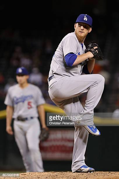 Relief pitcher JP Howell of the Los Angeles Dodgers pitches against the Arizona Diamondbacks during the sixth inning of the MLB game at Chase Field...
