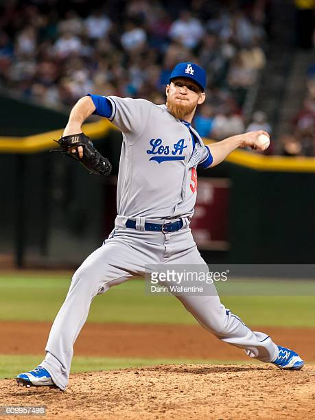 Relief pitcher JP Howell of the Los Angeles Dodgers throws a pitch in the fifth inning of the MLB game against the Arizona Diamondbacks at Chase...