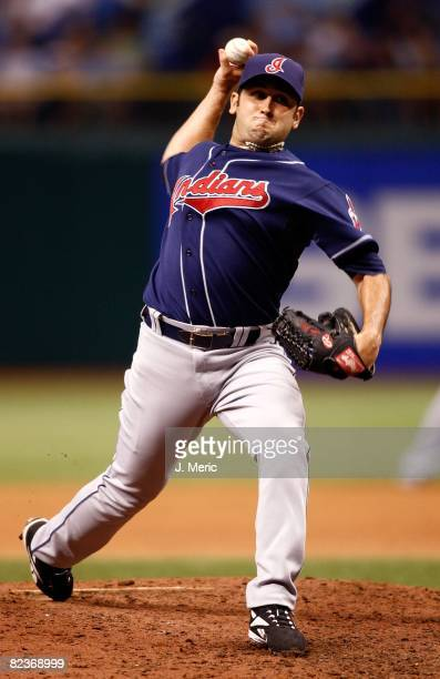Relief pitcher Juan Rincon of the Cleveland Indians pitches against the Tampa Bay Rays during the game on August 5 2008 at Tropicana Field in St...