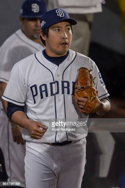 Relief pitcher Kazuhisa Makita of San Diego Padres is seen from the bullpen after the sixth inning during the MLB game against the Los Angeles...