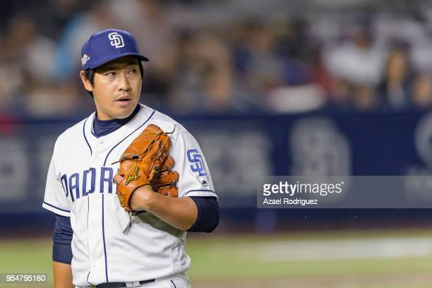 Relief pitcher Kazuhisa Makita of San Diego Padres leaves the field after the sixth inning during the MLB game against the Los Angeles Dodgers at...
