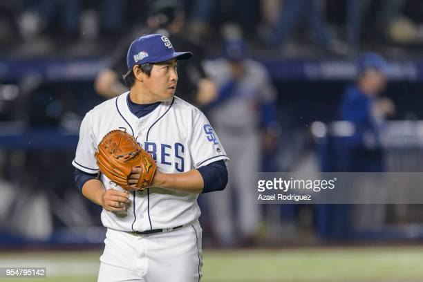 Relief pitcher Kazuhisa Makita of San Diego Padres looks on before pitching in the sixth inning during the MLB game against the Los Angeles Dodgers...
