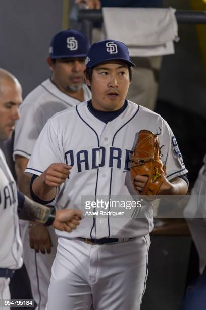 Relief pitcher Kazuhisa Makita of San Diego Padres looks on from the bullpen after the sixth inning during the MLB game against the Los Angeles...