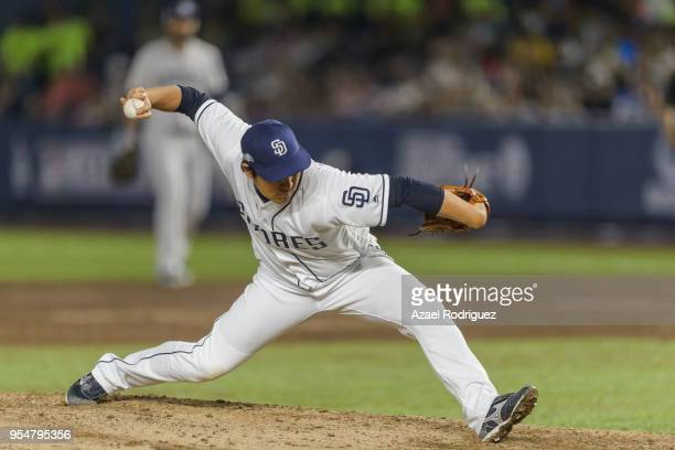 Relief pitcher Kazuhisa Makita of San Diego Padres pitches in the 8th inning during the MLB game against the Los Angeles Dodgers at Estadio de...