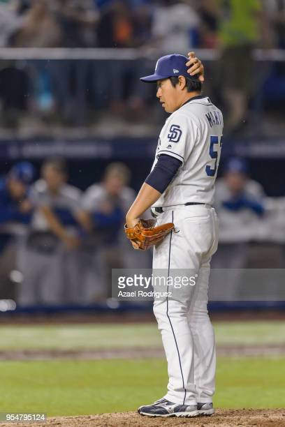 Relief pitcher Kazuhisa Makita of San Diego Padres prepares to pitch in the sixth inning during the MLB game against the Los Angeles Dodgers at...