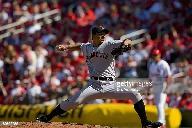 Relief pitcher Keiichi Yabu of the San Francisco Giants throws against the St Louis Cardinals on April 20 2008 at Busch Stadium in St Louis Missouri...