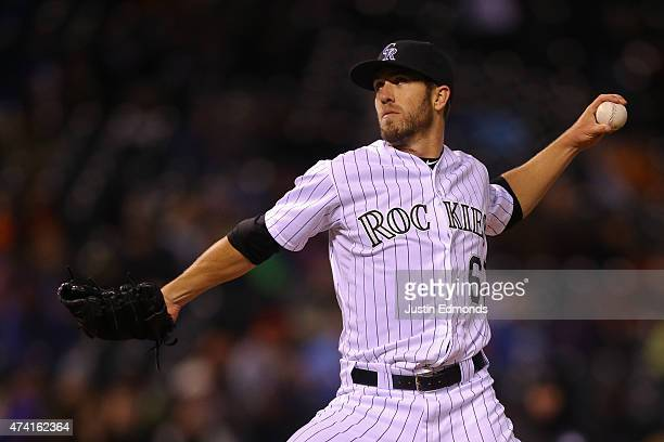 Relief pitcher Ken Roberts of the Colorado Rockies delivers to home plate during the sixth inning against the Philadelphia Phillies at Coors Field on...