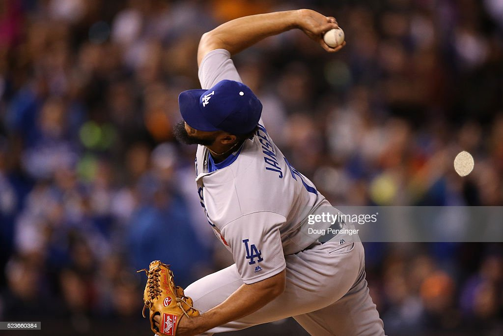 Relief pitcher Kenley Jansen #74 of the Los Angeles Dodgers works against the Colorado Rockies as he earned the save at Coors Field on April 23, 2016 in Denver, Colorado. The Dodgers defeated the Rockies 4-1.