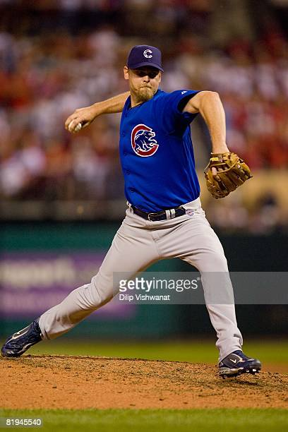 Relief pitcher Kerry Wood of the Chicago Cubs throws against the St Louis Cardinals on July 4 2008 at Busch Stadium in St Louis Missouri The Cubs...