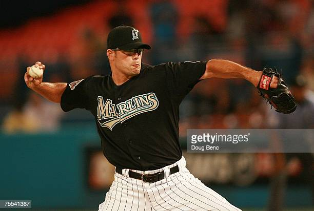Relief pitcher Kevin Gregg of the Florida Marlins pitches in the ninth inning against the St Louis Cardinals at Dolphin Stadium on July 18 2007 in...