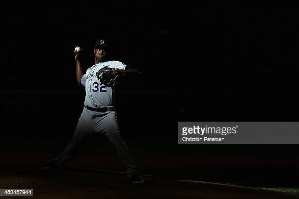 Relief pitcher LaTroy Hawkins of the Colorado Rockies pitches against the Arizona Diamondbacks during the tenth inning of the MLB game at Chase Field...