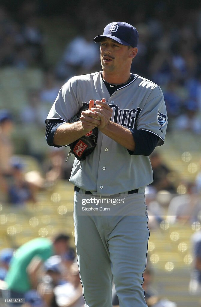 Relief pitcher Luke Gregerson #57 of the San Diego Padres reacts after giving up the first hit of the game to the Los Angeles Dodgers in the ninth inning on July 9, 2011 at Dodger Stadium in Los Angeles, California. The Dodgers won 1-0.