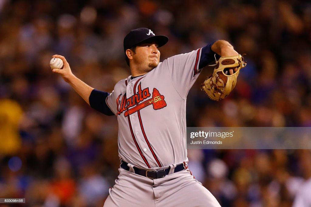 Relief pitcher Luke Jackson #58 of the Atlanta Braves delivers to home plate during the fourth inning during the game against the Colorado Rockies at Coors Field on August 16, 2017 in Denver, Colorado.